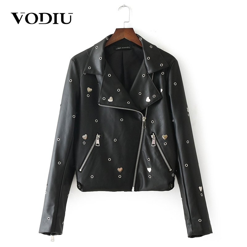 women short leather jacket long sleeve tops outwear zipper rivet high quality ladies slim slim basic jackets female black coats