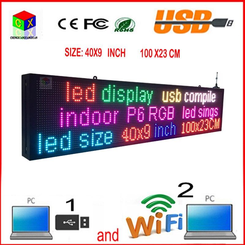 40X9 дюймов 7-Цвет RGB светодио дный знак беспроводной и usb Программируемые rolling информации P6 indoor светодио дный экран