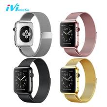 Ivi/для Apple Watch ремешок чехол серии 1 2 38 мм 42 мм Милан металла, нержавеющей стали с магнитной Роза золото серебристый, черный для iwatch