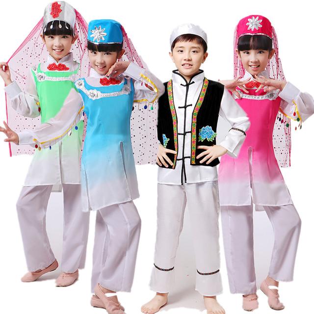 Chinês Hui Pessoas de Nacionalidade Asiática Étnica Vestido da Dança com Chapéu Traje de Dança Popular Chinesa Traje Performance de Palco 18