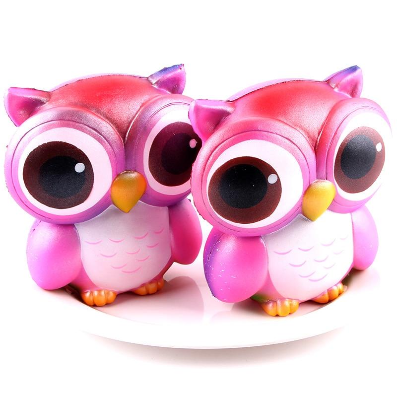 Cartoon Jumbo Bling Rainbow Owl Squishy Slow Rising Kawaii Phone Strap DIY Pendant Bread Cake Kid Toys Gift Dropship T2