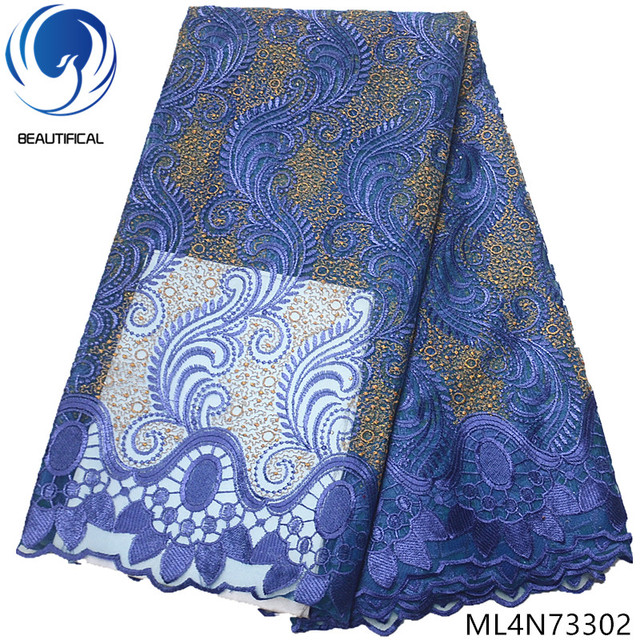 BEAUTIFICAL african lace fabrics Blue embroidery design tulle lace fabrics for dresses New arrival nigerian women fabric ML4N733