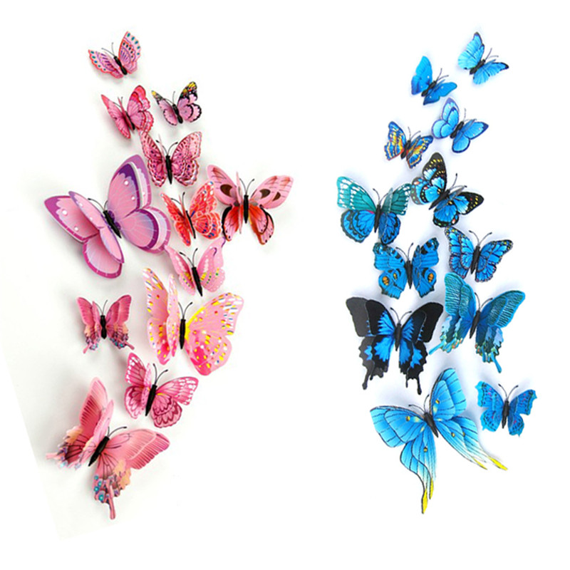 12st / lot Plast Artificiell Dubbellag Vinge 3D Butterfly Pin Clip Smycken för Myggnät Gardin Julgran Party Decor