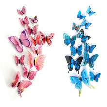 12pcs/lot Plastic Artificial Double Layer Wing 3D Butterfly Pin Clip Jewelry for Mosquito Net Curtain Christmas Tree Party Decor(China)