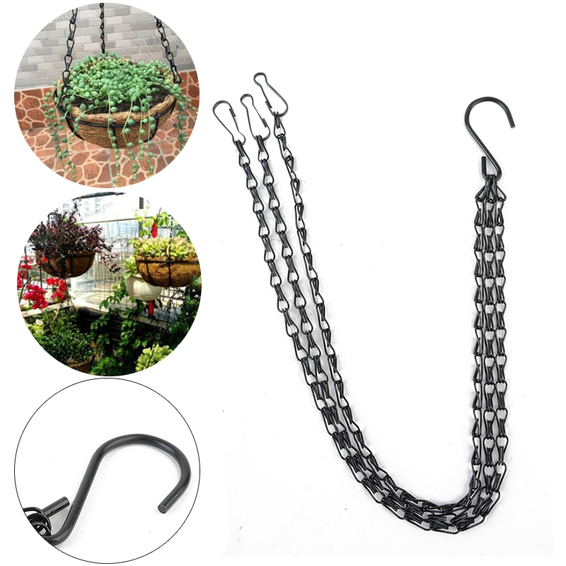 Black Flower Plant Pot Basket Holder Hanging Chain With S Shape Hooks For  Home Garden Tools In Flower Pots U0026 Planters From Home U0026 Garden On  Aliexpress.com ...
