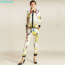 QYFCIOUFU High Quality Women Two Piece Set Vintage Tribe Printed Long Sleeves Tops And Blouses + Casual Floral Pants Suit