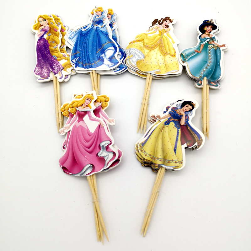24PCS/PACK Decorate Birthday Party Cake Topper Girls Favors Snow White Princess Theme Baby Shower Cupcake Toppers With Sticks