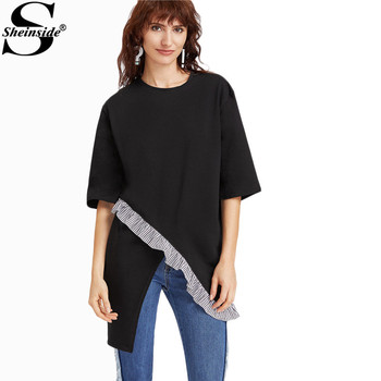 Sheinside Asymmetrical T-shirt Women Black Ruffle Trim Casual Cotton Summer Tops 2017 New Fashion O Neck Half Sleeve T-shirt