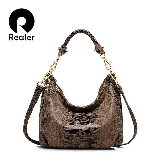 REALER бренд женщин подлинные кожаные сумки женщины ящерица шаблон сумка повелительниц высокого качества сумки с кисточкой