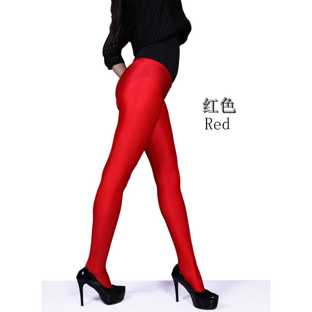 Image 3 - Spandex Smooth Wearproof Bodycon Shiny Pantyhose Women Low Waist Zip Open U Crotch Hot Sexy Legging Club Bar Pants Boot PantTights   -