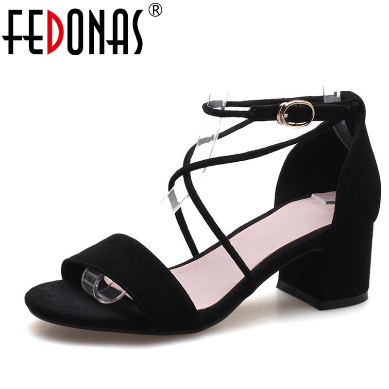 FEDONAS New 2018 Gladiator Women Genuine Leather Shoes Woman Roman Sandals Peep-toe High Heeled Summer Shoes Suede Sandals fedonas brand women summer gladiator low heeled sandals fashion comfort slippers genuine leather elegant shoes woman sandals
