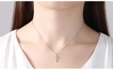 Cross Shaped Pendant Silver Necklace