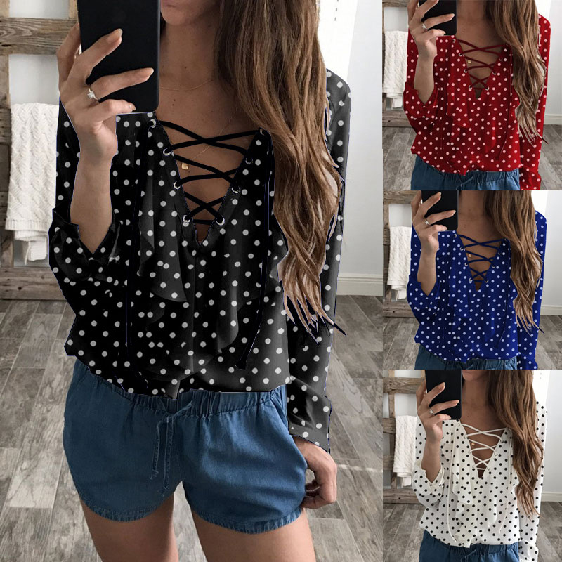 2018 Hot Sale women Fashion clothes Fashion Women Ladies Long Sleeve Loose Blouse Chiffon V Neck Casual Shirt Top women clothes