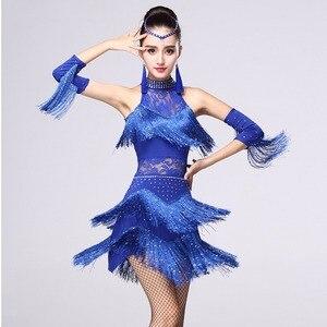 Image 3 - 5 farben Shiny Explosion Latin Dance Kostüm Frauen Fringe Kleid Latin Wettbewerb Kostüme Bühne Tragen Latin Dancewear Salsa Kleid