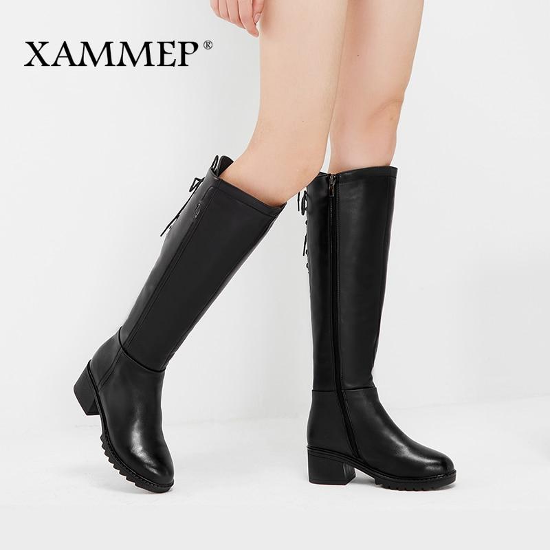 Xammep Брендовая женская зимняя обувь Женские зимние ботинки из натуральной кожи Натуральная шерсть женская обувь warmful высококачественные ботфорты