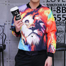 coats and jackets men 3d jackets men baseball jacket Autumn Winter Fashion print animal lion hip hop Streetwear Bomber Overcoat(China)