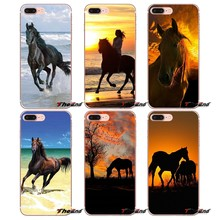 For iPhone X 4 4S 5 5S 5C SE 6 6S 7 8 Plus Samsung Galaxy J1 J3 J5 J7 A3 A5 2016 2017 Horse Mountain Range Sunset TPU Skin Cover(China)