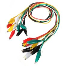 10pcs Crocodile Clips Test Leads in 5 Colors Each Wire Length 50CM