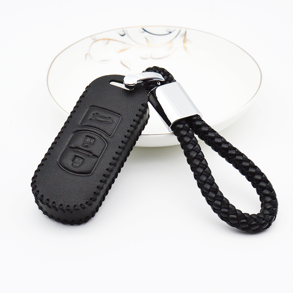 2018 Leather Car Remote Key Case Cover For Mazda 2 3 6 Axela Atenza CX-5 CX5 CX-7 CX-9 2015 2016 2017 Braid Woven Rope Keychain