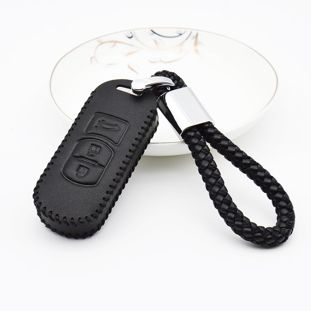 2018 Leather Car Remote Key Case Cover For Mazda 2 3 6 Axela Atenza CX-5 CX5 CX-7 CX-9 2015 2016 2017 Braid Woven Rope Keychain