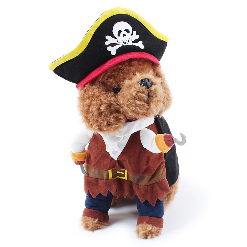 Cool Caribbean Pirate Pet Halloween Party Costume Suit for Small to Medium Dogs / Cats Cut
