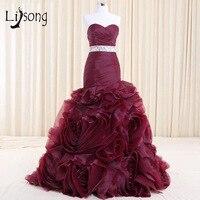 Burgundy Plum Tiered Handmade Eveing Dress Mermaid Vestido De Noiva High End Bridal Eveing Formal Dress