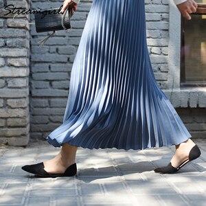 Image 5 - Saia feminina cintura alta com elástico, peça saia plissada longa escritório para mulheres verão 2019