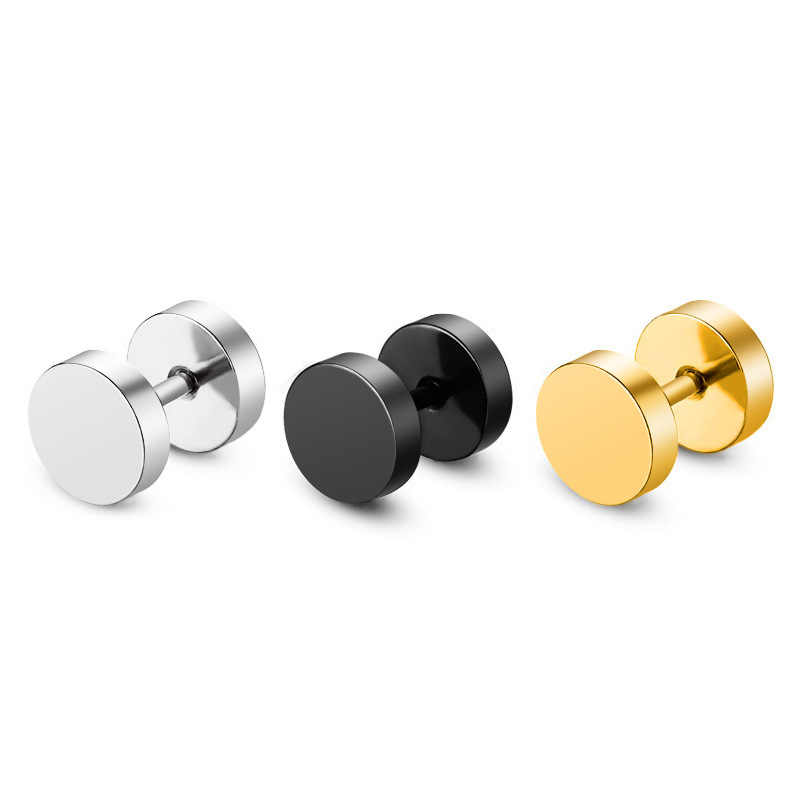 2018 New Fashion Titanium Steel barbell Men stud earrings stainless steel round cake dumbbell Earrings for Wonmen Jewelry