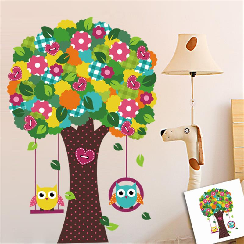 Lovely Owls Tree Flower Wall Stickers Kids Room Home Decoration Nursery Cartoon Animals Mural Art Diy Pvc Decals In From Garden On