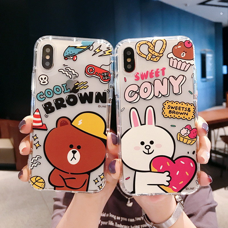 NEW Cute Cartoon Cony Brown Bear Sally Soft TPU Case For iPhone XS XR XS  MAX Air Anti-knock Case For iPhone X 6 6S 7 8 Plus Case 44272c92353d