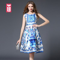 Top Quality Female Princess Party Formal Gowns Dresses Womens Banquet Royal Blue Flower Bohemian Vestidos 2017