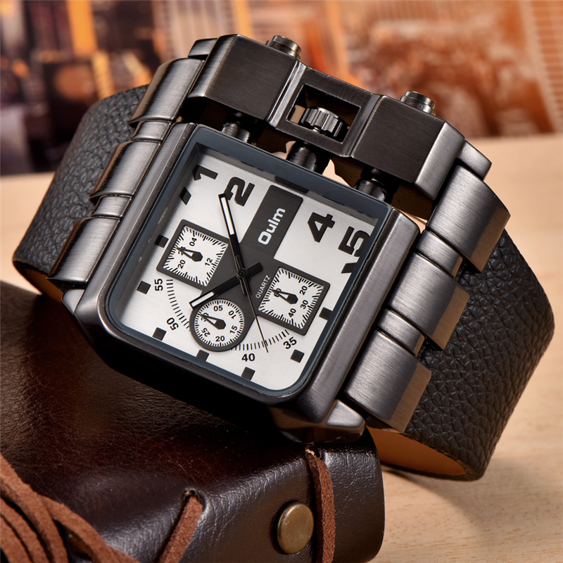 4f4ce4da1f4 Oulm Mostrador Quadrado Relógio de Quartzo Homem Ocasional Tamanho Grande  Relógios de Pulso Decorado Pequenos Mostradores Marca de Luxo Masculino  Relógio ...