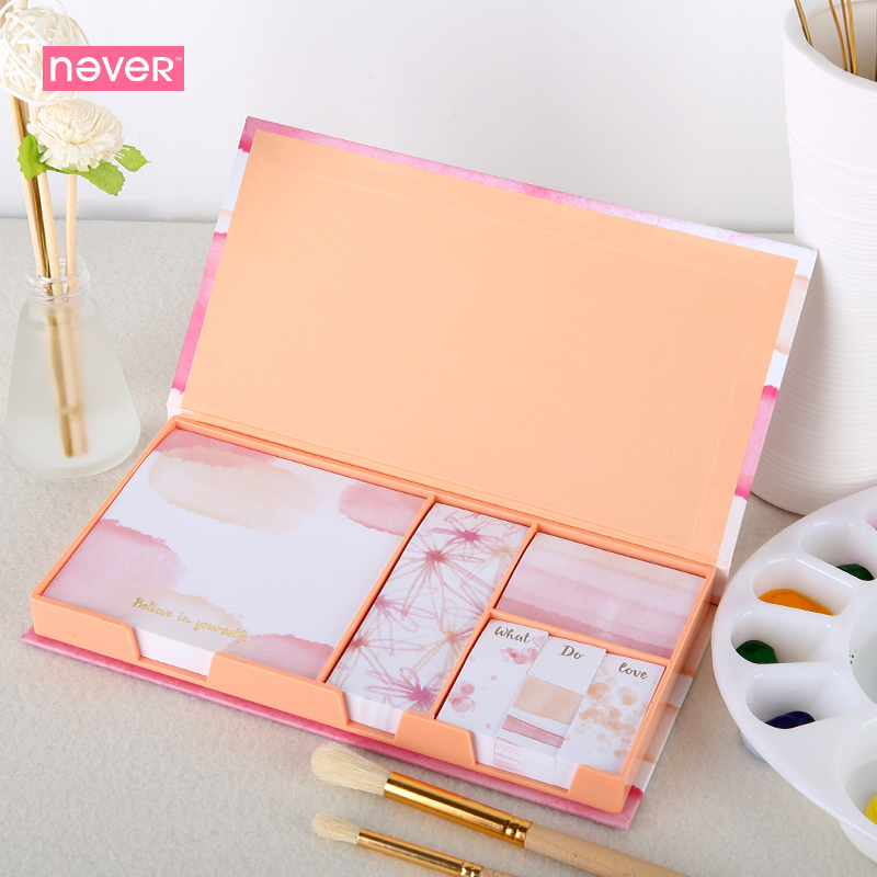 Never Watercolor Collection Sticky Notes Set Memo Pad Set Post It Diary Stickers Kawaii Stationery Office And School Supplies carton cute kawaii animal computer screen message board with scale for memo pad acrylic sticky note board office supplies