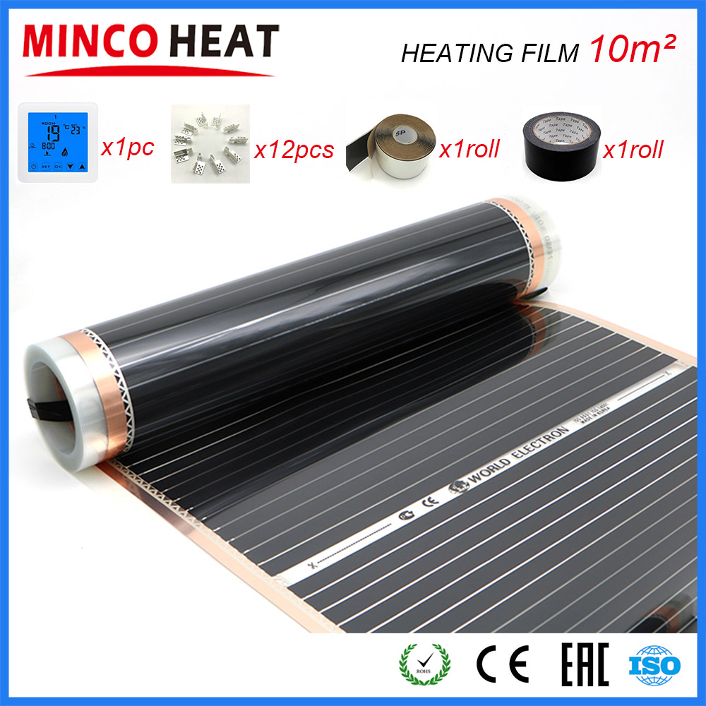 10M2 AC220V Far-infrared Room Heater Electric Underfloor Heater Heating Film With Installation Clips