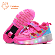 Classic Heelys Baby Roller Shoes Baby Boy&Girl Automatic LED Lighted Flashing Skates Fashion Sneakers Wheel Chaussure Enfant