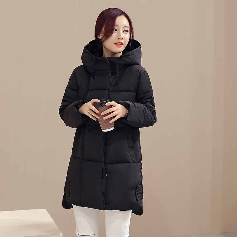 KUYOMENS Women Winter Coat Long sleeve Jackets Splice Hooded Long Jacket Thick Warm Cotton Down jacket Large size Womens Coat kuyomens 2017 women winter jacket coat cotton hooded thick warm loose women basic coats bomber jacket female autumn women coat