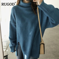 RUGOD 2018 Newest Turtleneck Cashmere Sweater Women Autumn Sweater and Pullovers Fashion Winter Warm Long Jumper Sueter Mujer