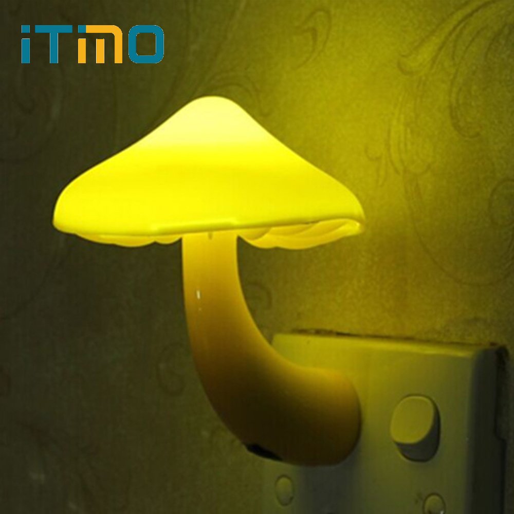 ITimo Warm Mushroom LED Night Light Room Decor EU US Plug Light-control Sensor Wall Socket Lamp Light Home Bedroom Decoration