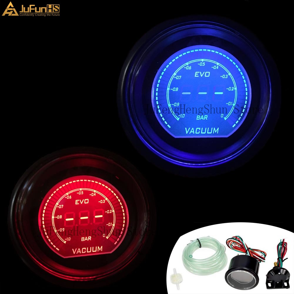 2 Inch 52mm Evo Car Vacuum Gauge -1~0 Bar Digital Red And Blue Led Turbo Vacuum Meter 12v Auto Gauges With Sensor Buy One Get One Free
