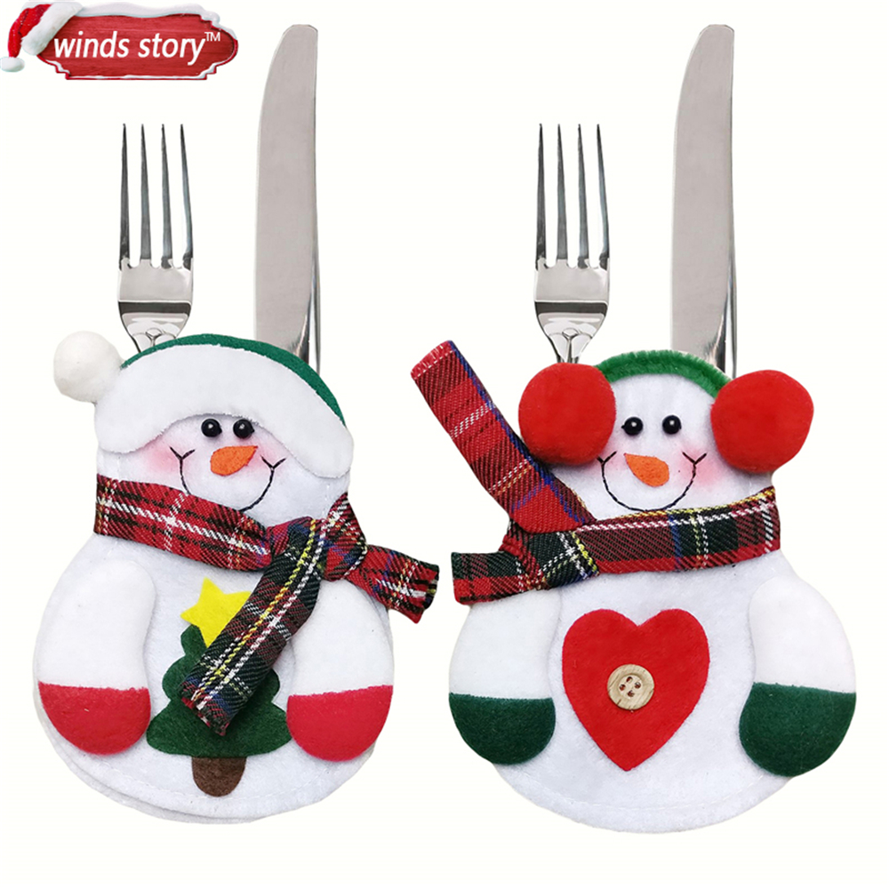 6pcs Festive & Party Supplies Christmas Kitchen Decorations Xmas Lovely Snowman Pocket Cutlery Bag Dining Table Home Decorations