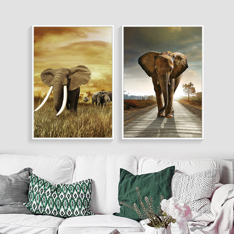 Animals Art Canvas Painting Print And Poster Elephant On Canvas Wall Pictures For Living Room Modern Home Decor No Frame SID432 african elephant