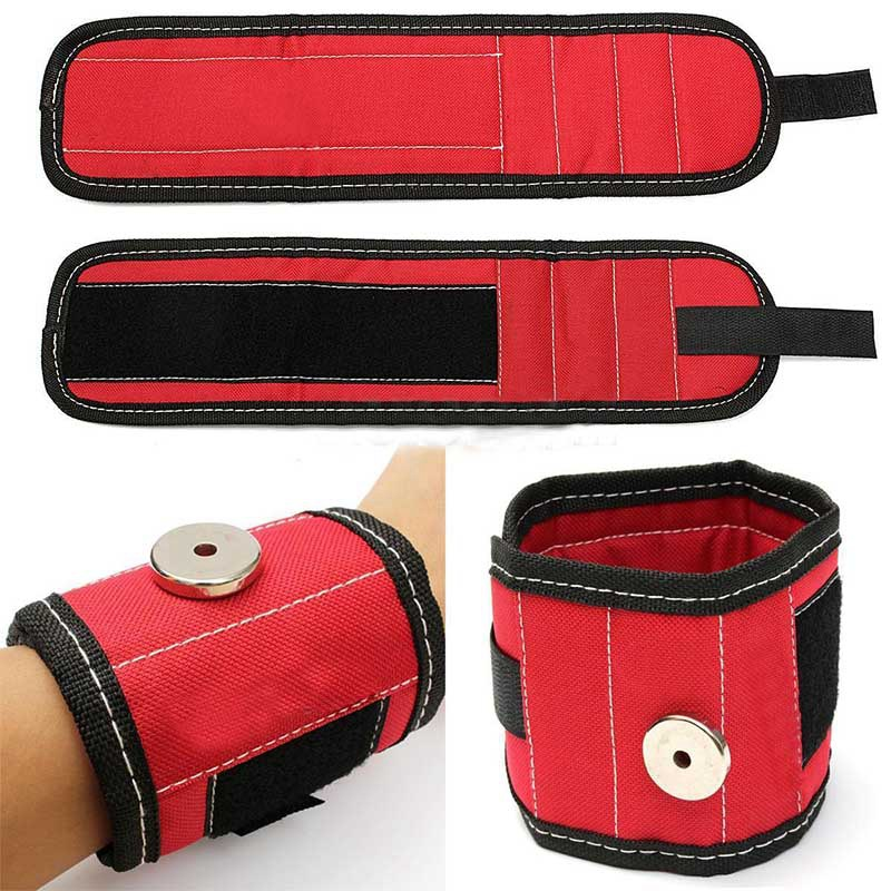 Sports Safety 13.8 Magnetic Wristband Wrist Support Band Tool Belt Bracelet Nail Screw Kit Set Red Color
