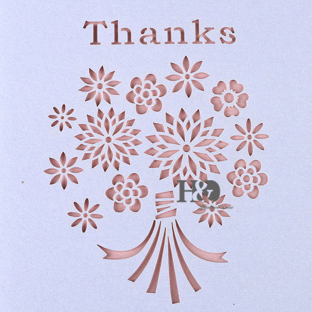 Cut Out Thank You Note Cards Blue White Rustic Folded Greeting Card