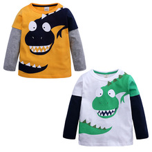 цены Little Kids Boys Dinosaur Sweatshirt T-Shirt Long Sleeve Tops Casual Cotton Tee Shirts