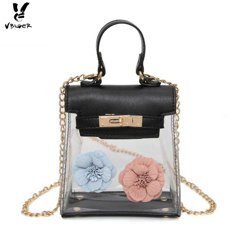 Vbiger Newest Fashion Women Handbags Jelly Bag New Female Shoulder Bags With Flowers Crossbody Bags handbag transparent For Girl youe shone 2017 leather bag strap flowers fashion female bag shoulder straps you handbags accessories with gift box jd009