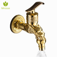 Mrosaa antik bronz ejderha oyma su musluk altın duvara monte çamaşır makinesi musluk Bibcock musluklar mutfak bahçe banyo