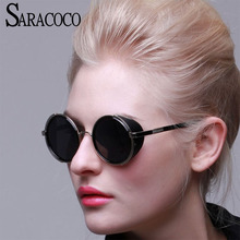 SARACOCO Vintage Steampunk Anti-Reflective Sunglasses 2017 Brand Designer UV400 Metal Frame Sun Glasses Female #CO003