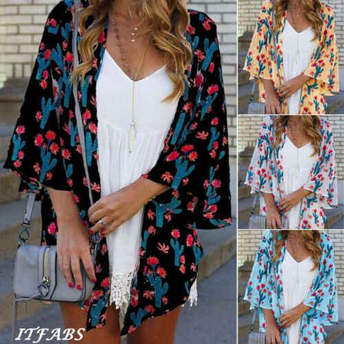 Женская винтажная Цветочная свободная шаль кимоно кардиган Boho шифон Топы Куртка блузка
