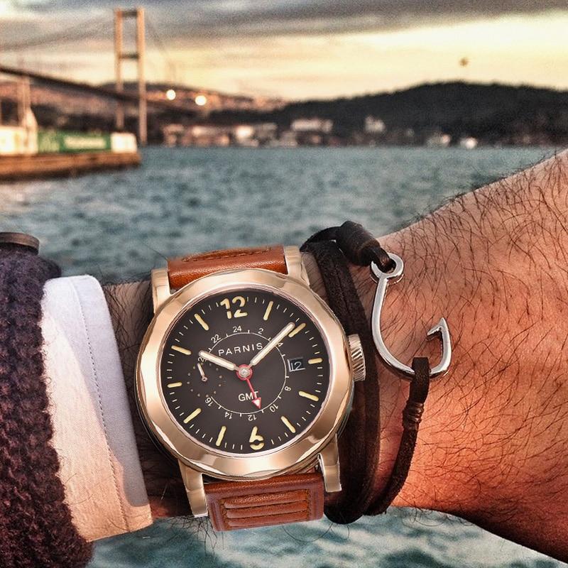 43mm Parnis SeaGull Czarny zegarek automatyczny Power Reserve / GMT - Męskie zegarki - Zdjęcie 3
