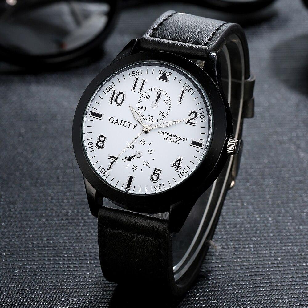 Gaiety Brand 2017 New Watches Men Business Leather Strap Quartz Wristwatch Clock Casual Luxury Silver Sport Gift White Watch